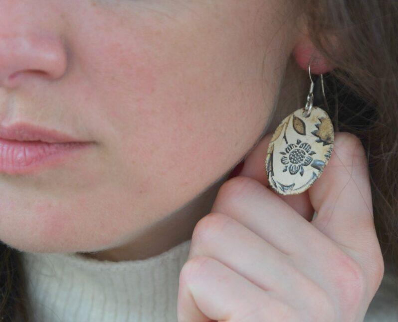 William Morris earrings by Amulet of Orkney handmade jewellery