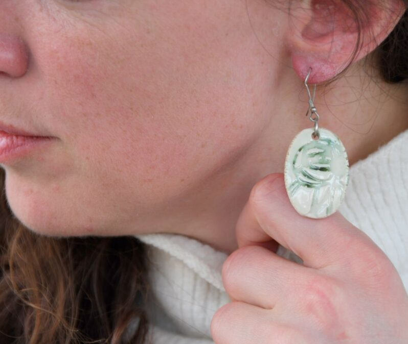 Rennie Mackintosh earrings by Andrew Appleby at Amulet of Orkney